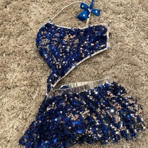 Adorable blue and silver dance costume